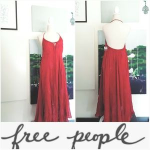 NWT FREE PEOPLE CRANBERRY DETAILED HALTER DRESS